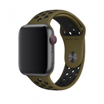 Bracelete desportiva Nike para Apple Watch (44/42 mm) S/M & M/L - Verde-oliva/preto