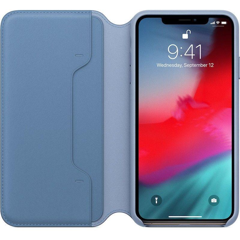 Capa Folio em pele para iPhone XS Max - Centáurea azul