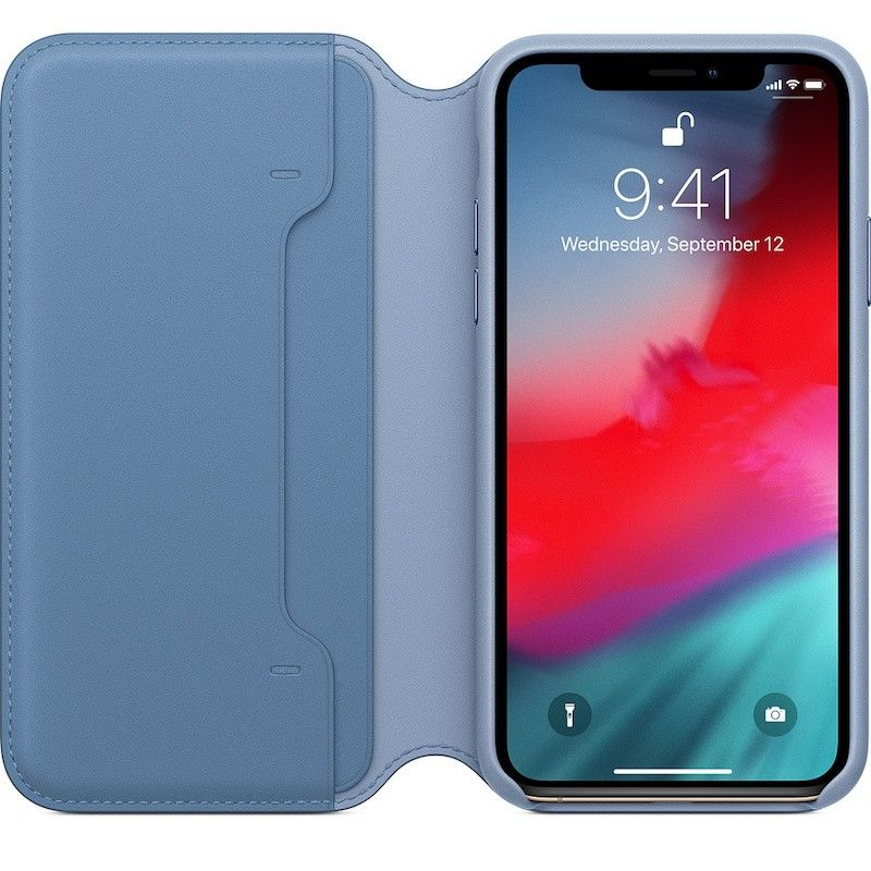 Capa Folio em pele para iPhone XS - Centáurea azul