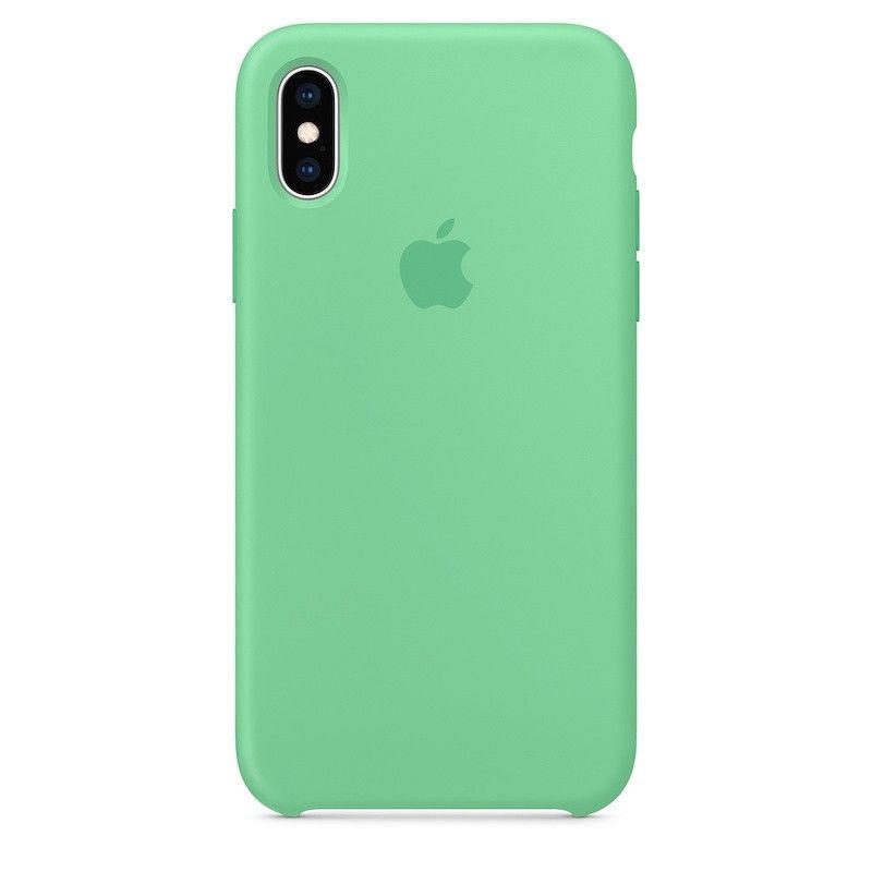 Capa para iPhone XS em silicone - Hortelã