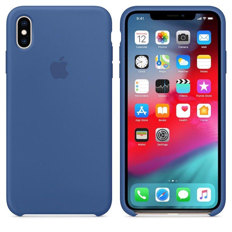 Capa para iPhone XS Max em silicone- Azul porcelana