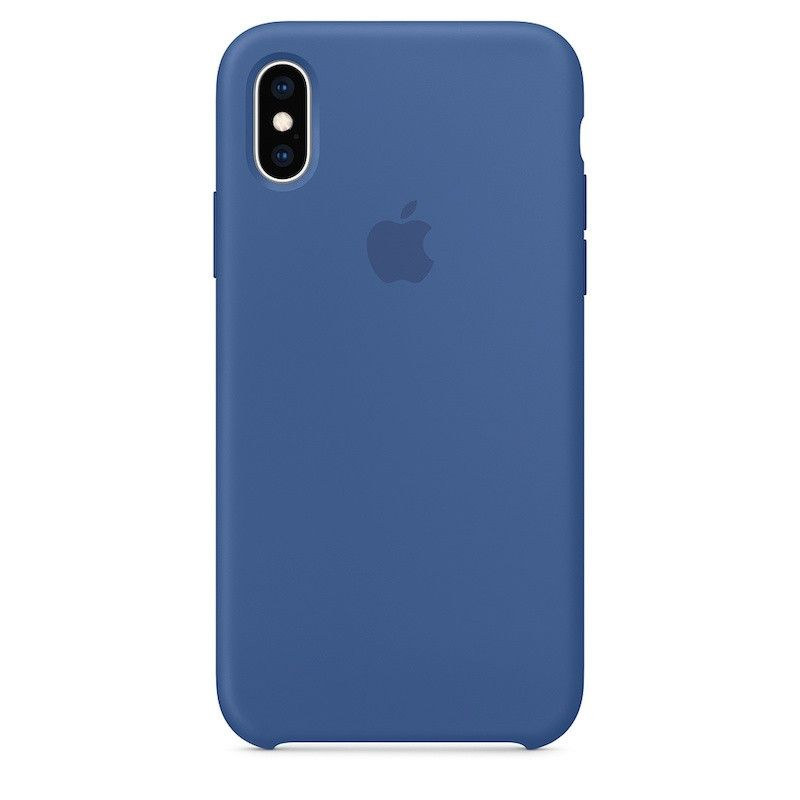 Capa para iPhone XS em silicone - Azul porcelana