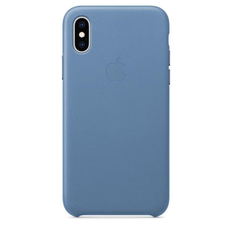 Capa para iPhone XS em pele - Centáurea azul