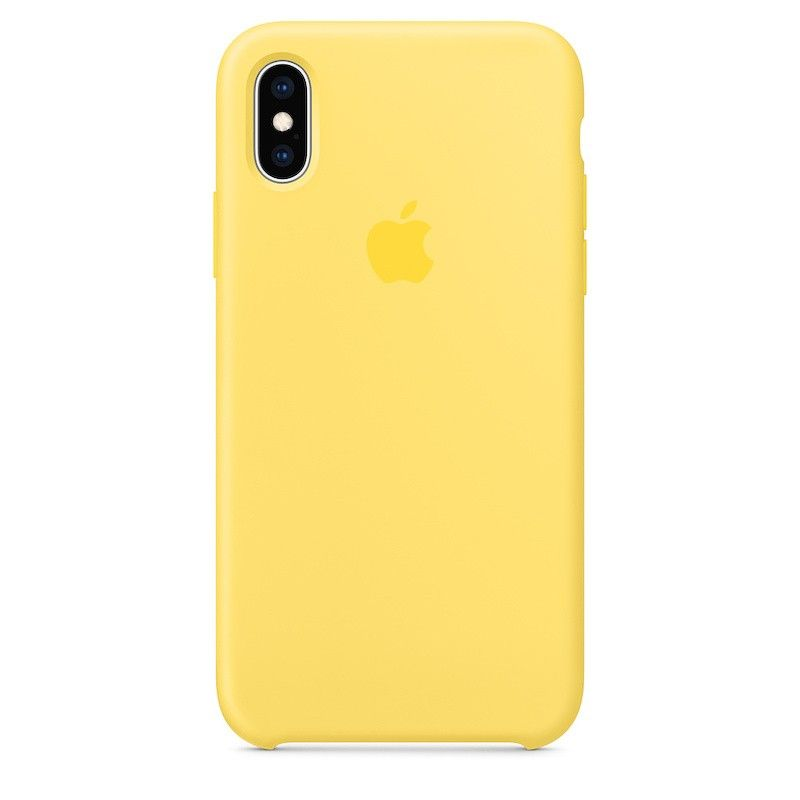 Capa para iPhone XS em silicone - Amarelo Canário