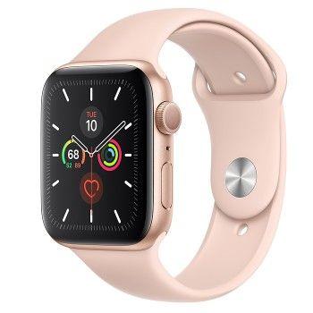 Apple Watch 5, 44 mm - Dourado com bracelete desportiva