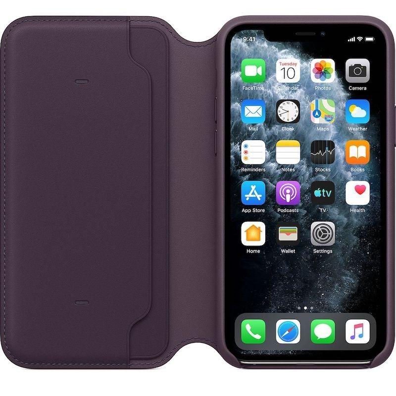 Capa folio em pele para iPhone 11 Pro - Beringela