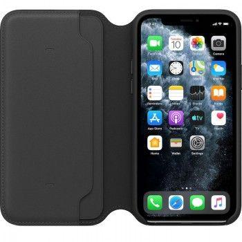 Capa folio em pele para iPhone 11 Pro - Preto