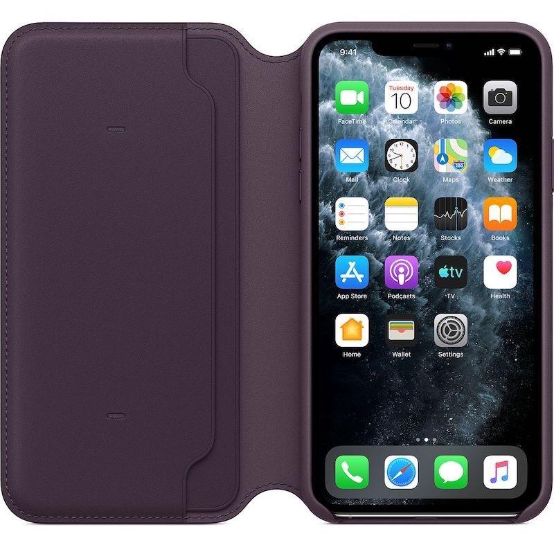 Capa folio em pele para iPhone 11 Pro Max - Beringela