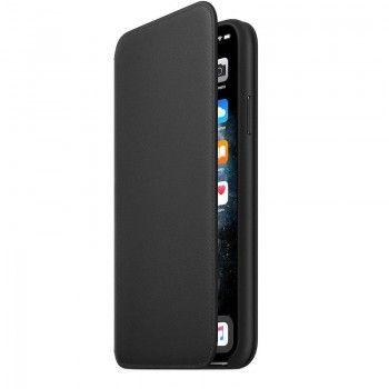 Capa folio em pele para iPhone 11 Pro Max - Preto