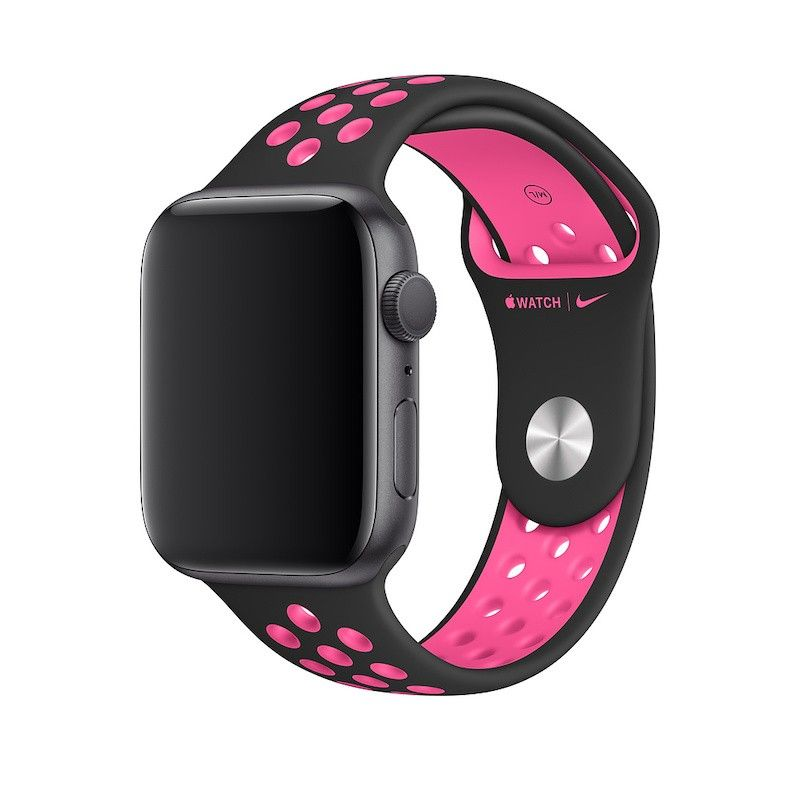 Bracelete desportiva Nike para Apple Watch (44/42 mm) S/M & M/L - Rosa explosivo / preto