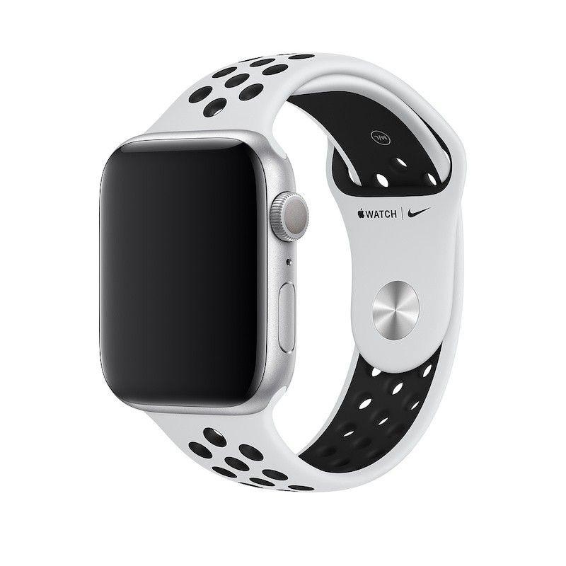 Bracelete desportiva Nike para Apple Watch (44/42 mm) S/M & M/L - Platina pura/preto