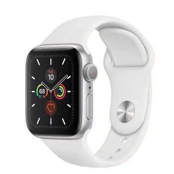 Apple Watch 5, 40 mm - Prateado com bracelete desportiva