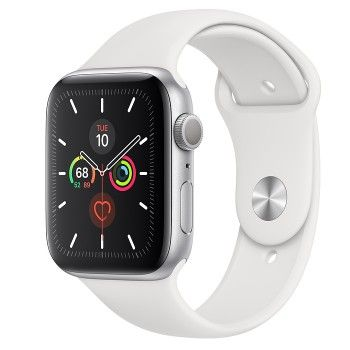 Apple Watch 5, 44 mm - Prateado com bracelete desportiva