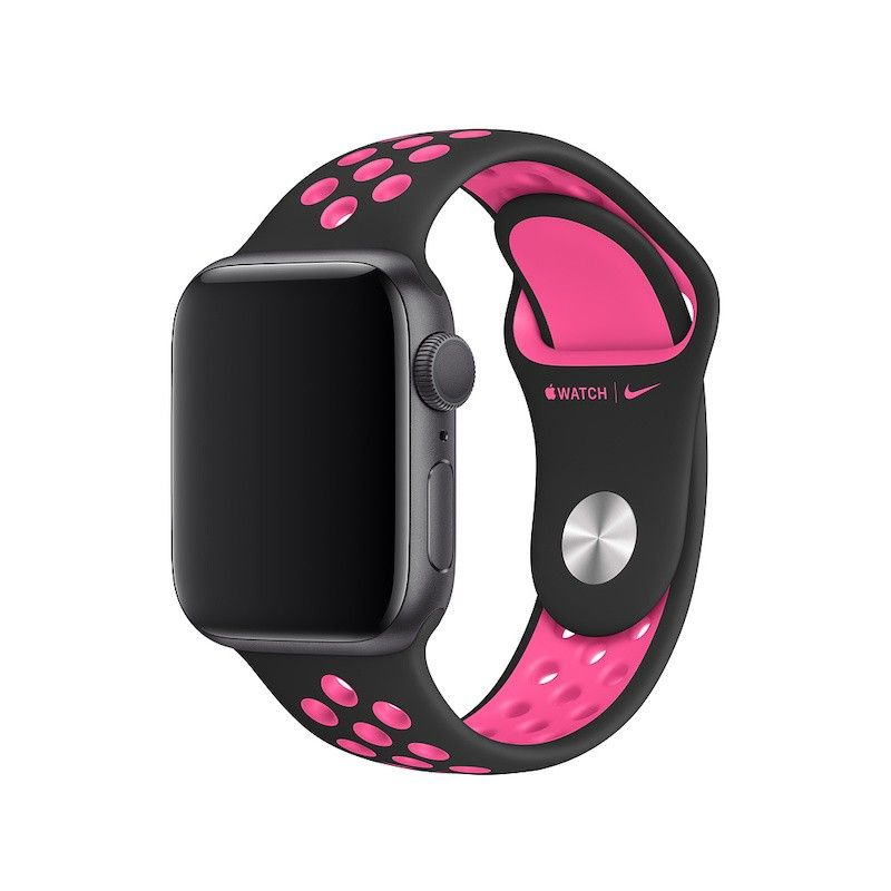 Bracelete desportiva Nike para Apple Watch (40/38 mm) S/M & M/L - Preto / rosa explosivo