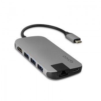 Hub Multimédia 4K HDMI, Ethernet, 4 USB 3.0 e USB-C - Cinzento Sideral