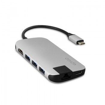 Hub Multimédia 4K HDMI, Ethernet, 4 USB 3.0 e USB-C - Prateado