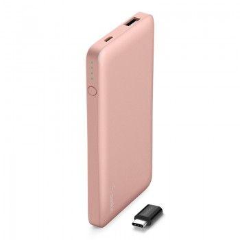 Powerbank 5000 mAh com entrada USB/micro USB e adaptador USB-C - Rosa dourado