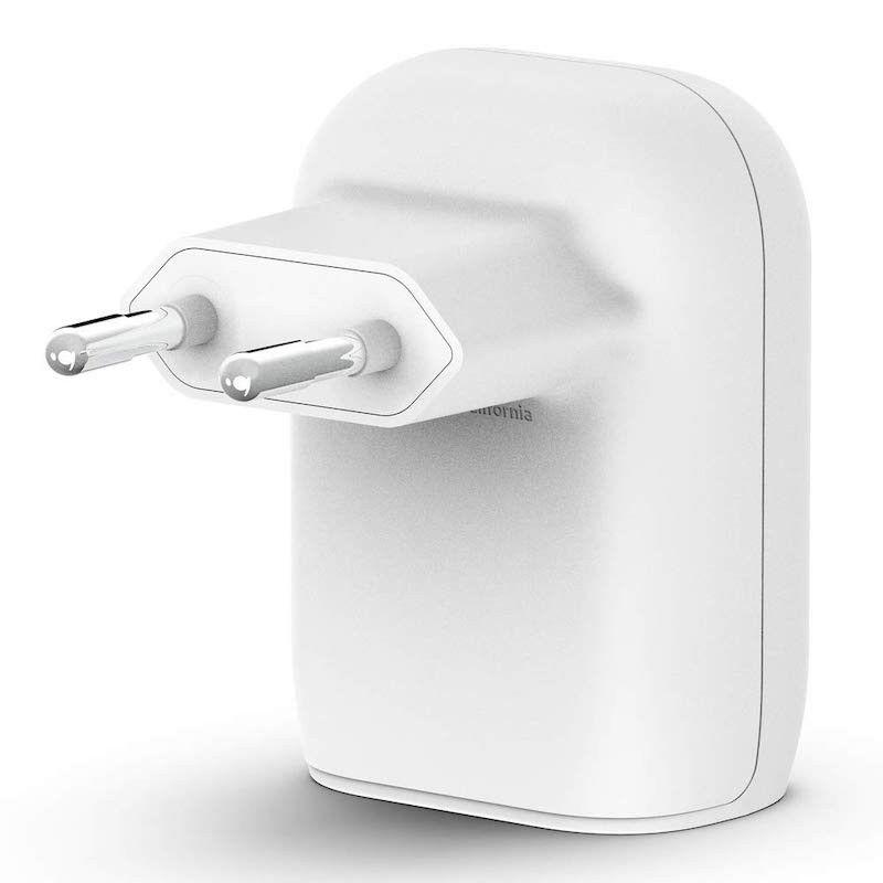 Carregador de parede duplo com 30W ((18W USB-C & 12W USB-A)