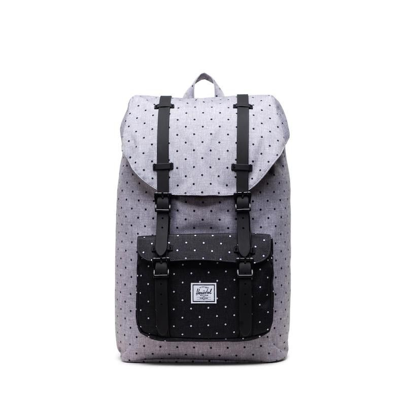 Mochila Herschel Little America Mid-Vol (17L) - Polka Dot Cross Grey Black