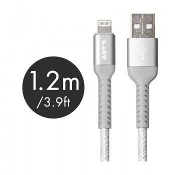 Cabo Lightning/USB de grande resistência Laut Though Matter - Cinzento