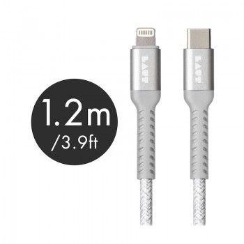 Cabo Lightning/USB-C de grande resistência Laut Though Matter - Cinzento