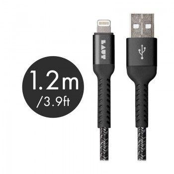 Cabo Lightning/USB de grande resistência Laut Though Matter - Preto