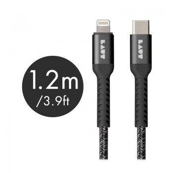 Cabo Lightning/USB-C de grande resistência Laut Though Matter - Preto