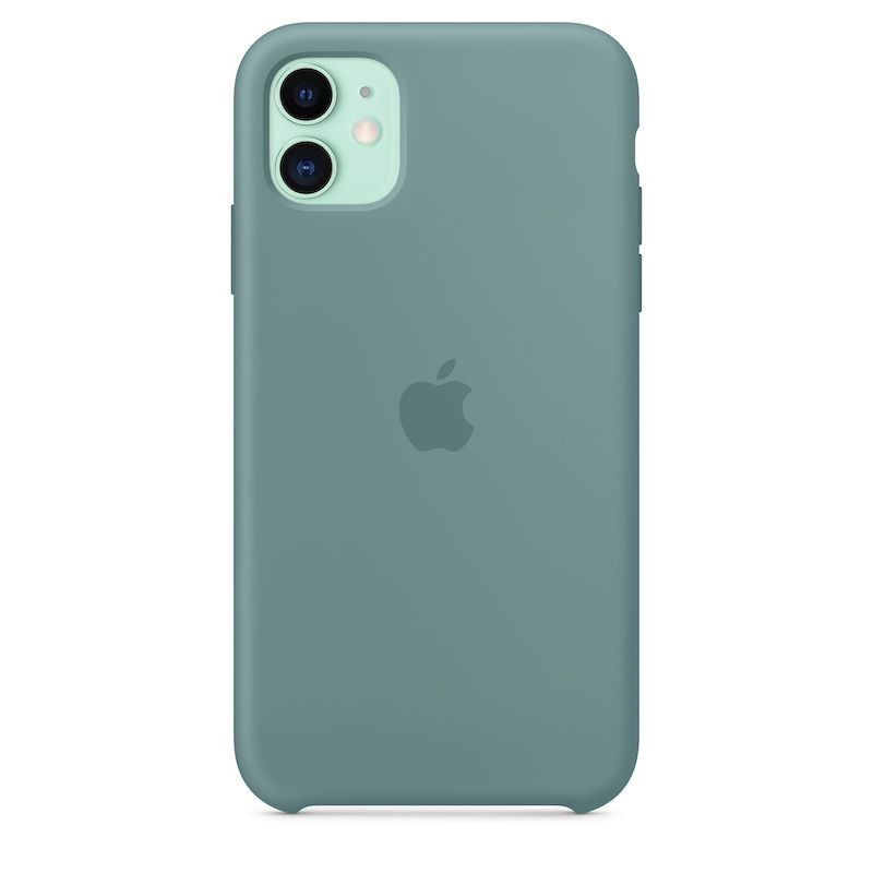 Capa para iPhone 11 em silicone - Verde-cato