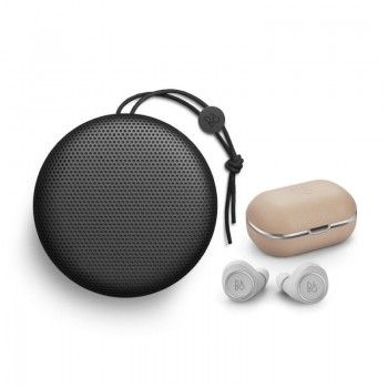 Conjunto composto por Bang & Olufsen Beoplay A1 Black e E8 2.0 Natural