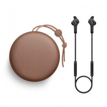 Conjunto composto por Bang & Olufsen Beoplay A1 Tan e E6 Black