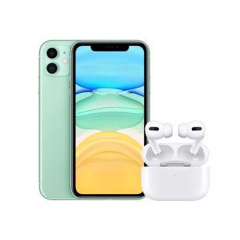Conjunto composto por iPhone 11 64 GB verde e Airpods Pro