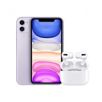 Conjunto composto por iPhone 11 64 GB roxo e Airpods Pro