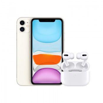 Conjunto composto por iPhone 11 64 GB branco e Airpods Pro