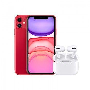 Conjunto composto por iPhone 11 64 GB (PRODUCT RED) e Airpods Pro
