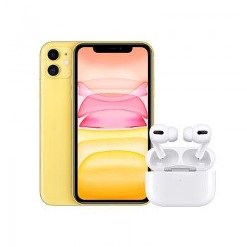 Conjunto composto por iPhone 11 64 GB amarelo e Airpods Pro