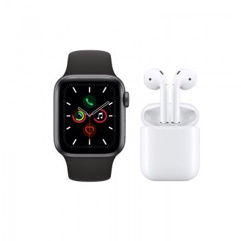 Conjunto composto por Apple Watch 5 44 cinzento sideral e AirPods