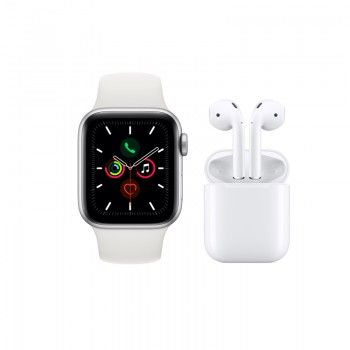 Conjunto composto por Apple Watch 5 44 prateado e AirPods