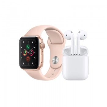 Conjunto composto por Apple Watch 5 40 dourado e AirPods