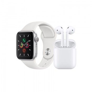 Conjunto composto por Apple Watch 5 40 prateado e AirPods