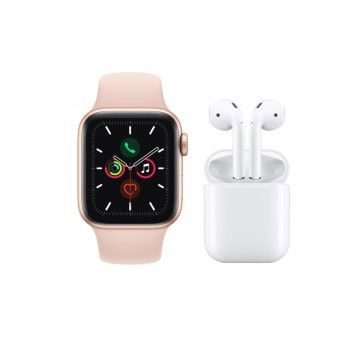 Conjunto composto por Apple Watch 5 44 dourado e AirPods