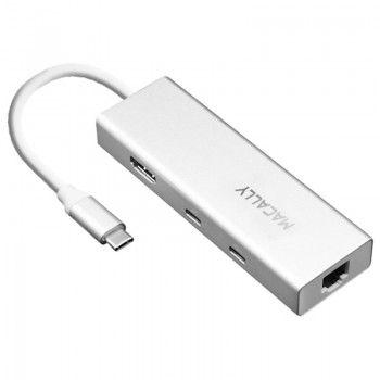 Adaptador Macally USB-C Mini Dock (USB-A/USB-C/HDMI/ETHERNET)