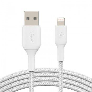 Cabo Lightning para USB-A Belkin Braided 1 m Branco