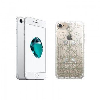 """Conjunto composto por iPhone 7 Prateado e capa Saudade 2 """"Ferro"""""""