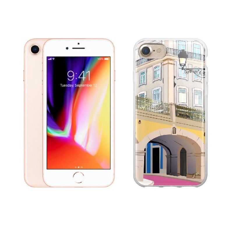 "Conjunto composto por iPhone 8 Dourado e capa Saudade 2 ""Rua Rosa"""""