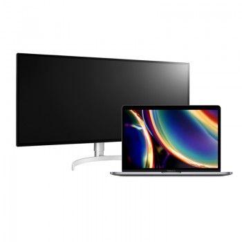 Conjunto composto pelo monitor LG 34 pol. e o MacBook Pro 13 MV962PO/A