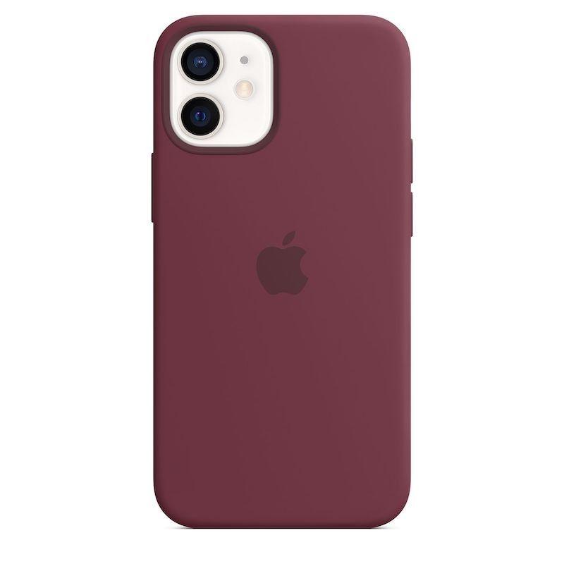 Capa para iPhone 12 mini em silicone com MagSafe - Ameixa