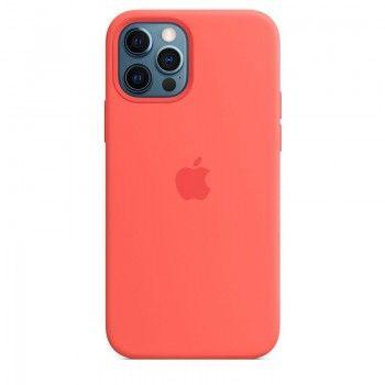 Capa para iPhone 12   12 Pro em silicone com MagSafe - Rosa cítrico