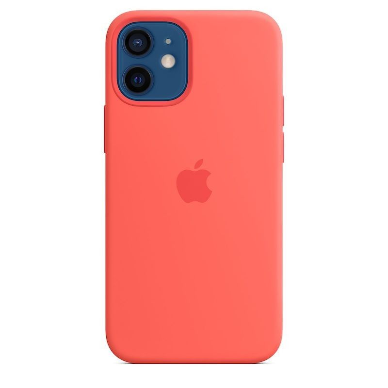 Capa para iPhone 12 mini em silicone com MagSafe - Rosa cítrico