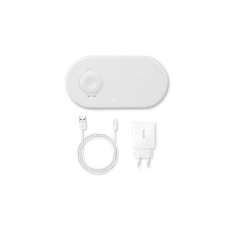 Carregador Sem fios EPICO para iPhone e Apple Watch Branco