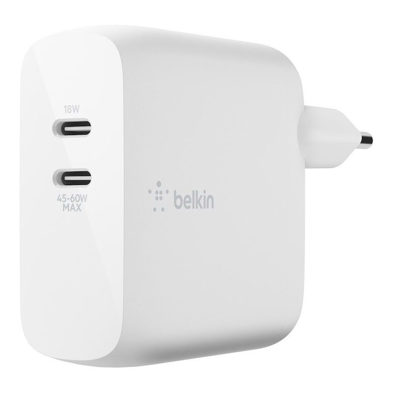 Carregador de parede duplo Belkin Boost Charge USB-C GaN de 63W